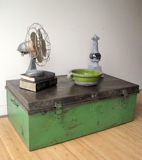 Industrial Metal Trunk/coffee Table With Stripped Top Which Was Then  Distressed And Rusted Naturually