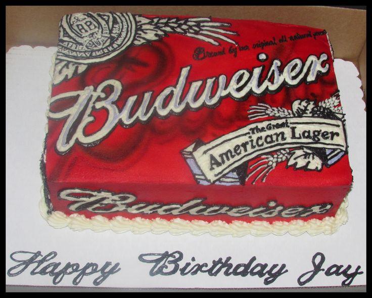 Buttercream only, no fondant, Budweiser cake