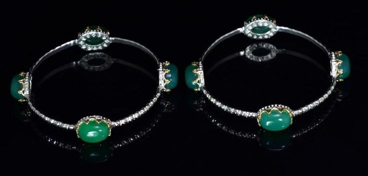 2pc Green Onyx Gemstone Turkish Victorian Style 925 Silver Plated Design Bangles #krishnagemsnjewels #Bangle