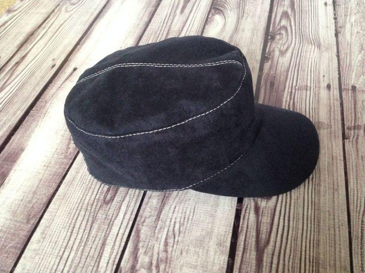 Купить Дизайнерская замшевая кепка (искусственная замша) чернильно - синяя - кепка, бейсболка, шапка женская