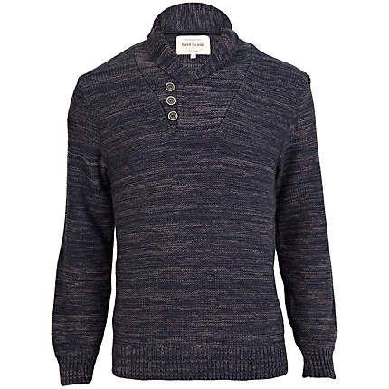 Navy blue marl button shawl neck jumper €18.00
