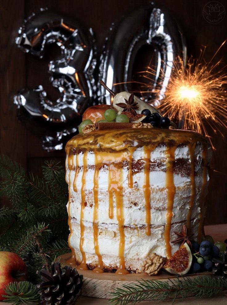 Autumn birthday cake, yogurt cake, cream and salted caramel