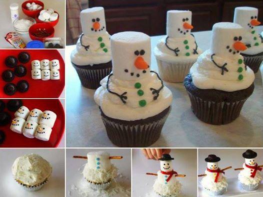 Cute Marshmallow Snowman Cupcakes--> http://wonderfuldiy.com/wonderful-diy-marshmallow-snowman-cupcakes/