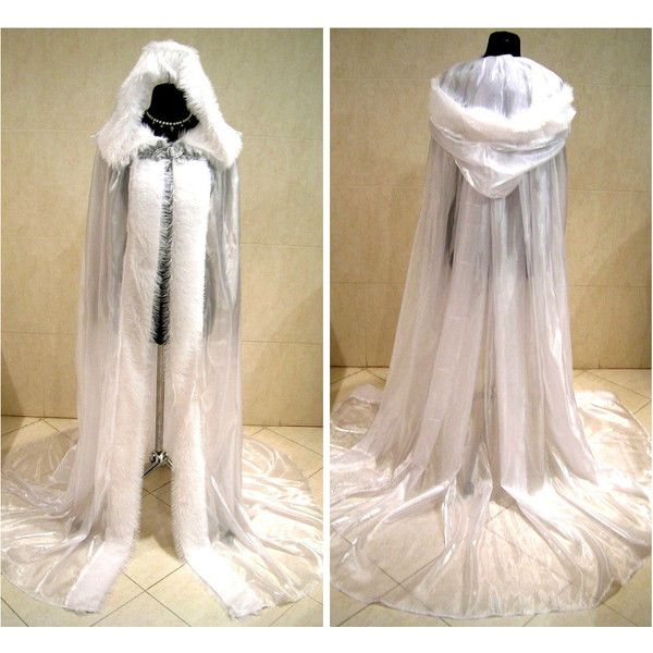 FUR medieval cloak white cape wedding dress costume snow ice queen... (£56) ❤ liked on Polyvore featuring costumes, queen halloween costume, witch costume, white christmas costumes, renaissance queen costume and white halloween costumes