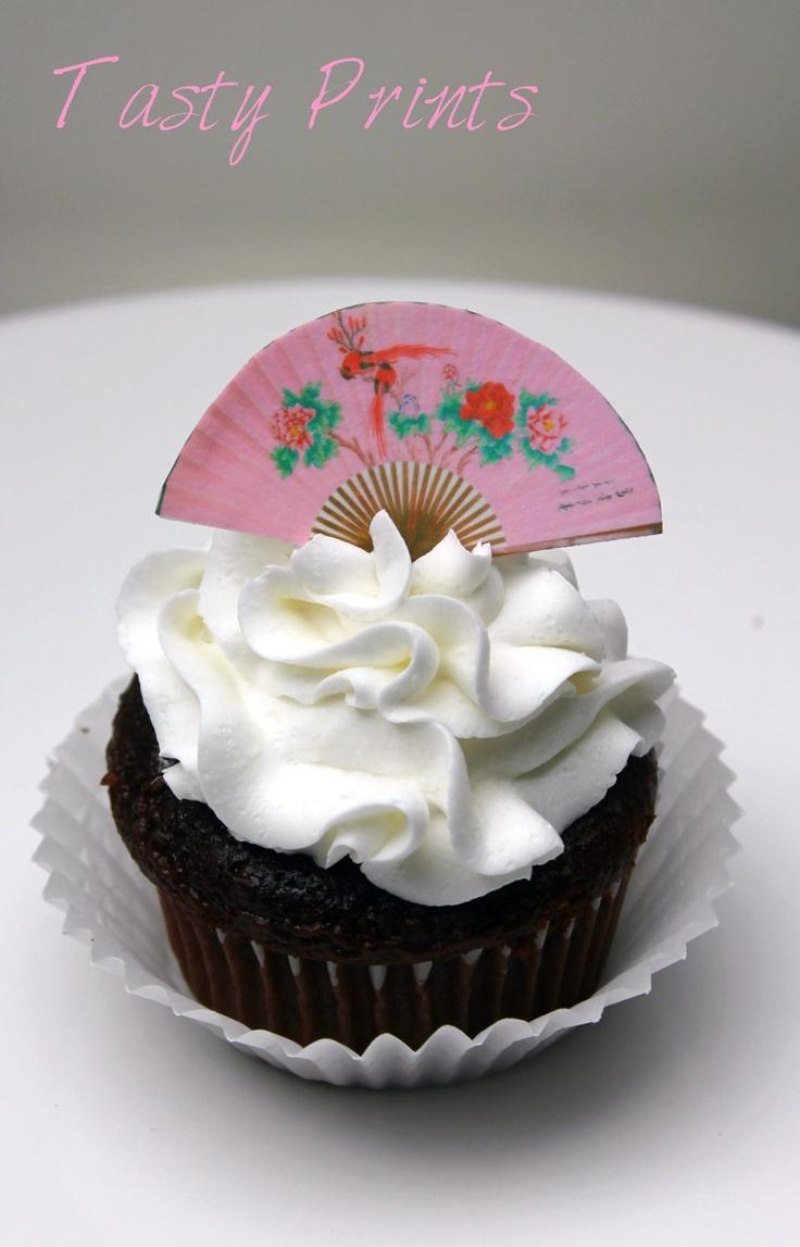 Japanese Fan -12 Edible decorations - Tasty Prints - Cupcake topper - cake decoration -- edible decoration. $10.99, via Etsy.