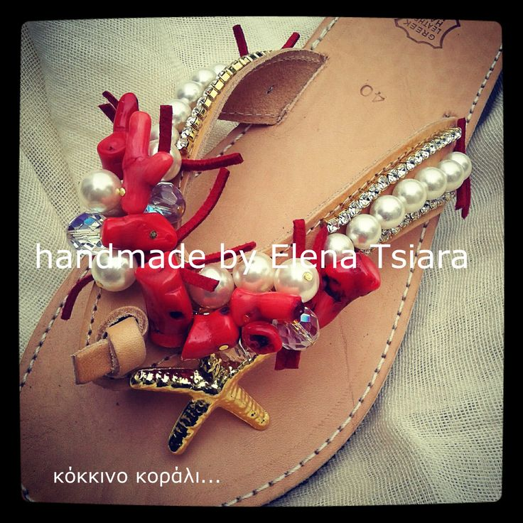 leather sandals with coral beads and starfish gord. Handmade by Elena Tsiara. Fb group: elenas sandals