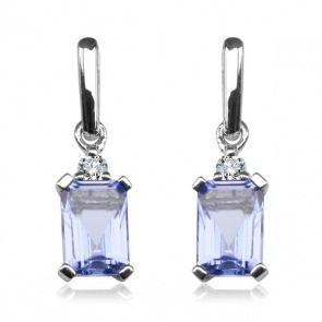 Kolczyki z białego złota. Tanzanity z brylantami - Biżuteria srebrna dla każdego tania w sklepie internetowym Silvea