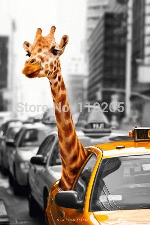 Холст картины искусства старинные плакат украшения дома искусства пейзаж живопись животных картина girrafe нью-йорк сафари современное искусство