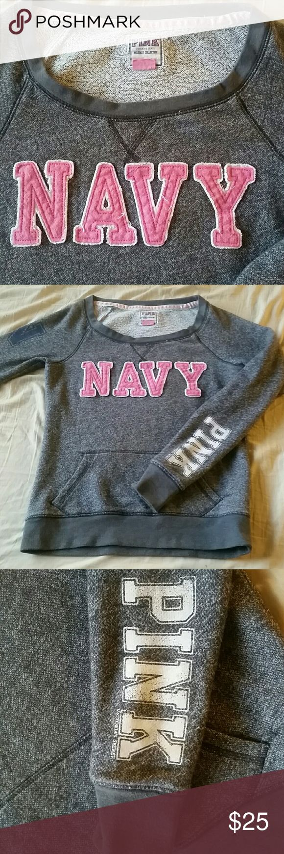 VS Military Collection Navy Sweatshirt (RARE!) Victoria's Secret Pink, US Navy sweatshirt, gently used, older. These are no longer made and I have scoured the internet to find another one like it and I cannot. Similar pieces have been sold for $40-60. Victoria's Secret Sweaters Crew & Scoop Necks
