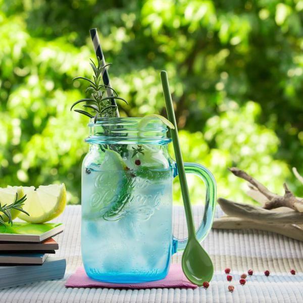 Quattro Stagioni sklenice mason jar s uchem modrá 0,4l