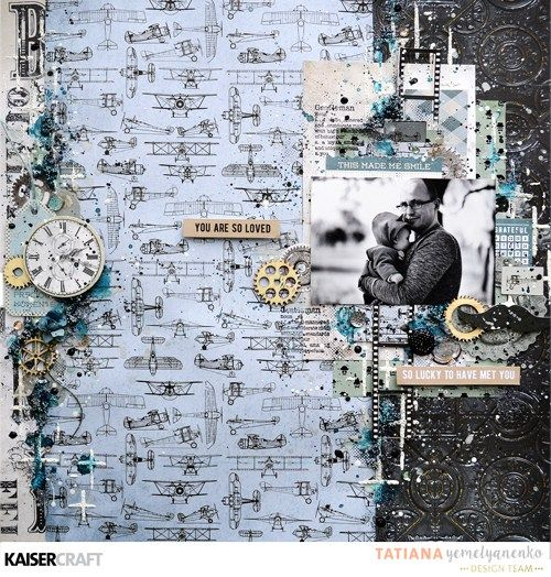 'You are So Loved' layout by Tatiana Yemelyanenko Design Team Kaisercraft using 'Barber Shoppe' collection. ~ Wendy Schultz ~ Scrapbook Layouts.