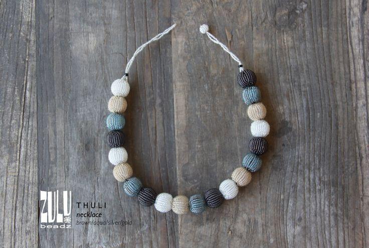 THULI - Zulu Beaded Necklace - brown/aqua/silver/gold by ZuluBeadz on Etsy