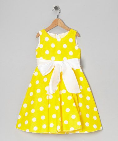 Loving this Yellow Polka Dot Bow Dress - Infant, Toddler & Girls on #zulily! #zulilyfinds