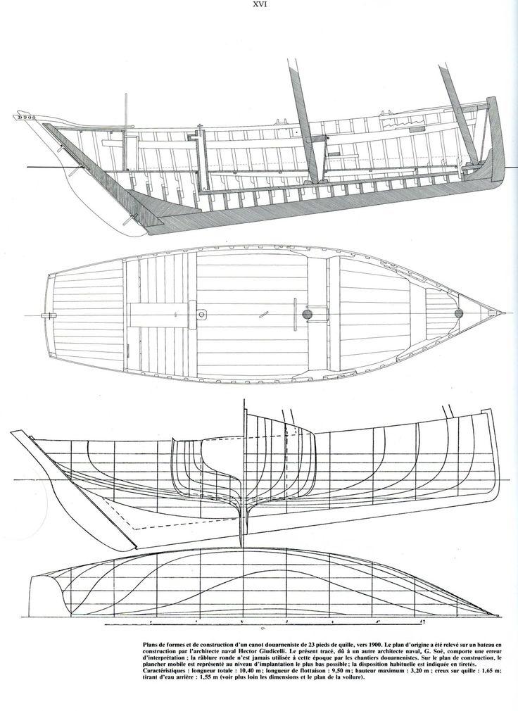 """Plans of a Dournenez """"canot sardinier"""", c.1900 . Published in """"Ar Vag, Voiles au Travail en Bretagne atlantique"""", tome I, Sardiniers et Thoniers"""