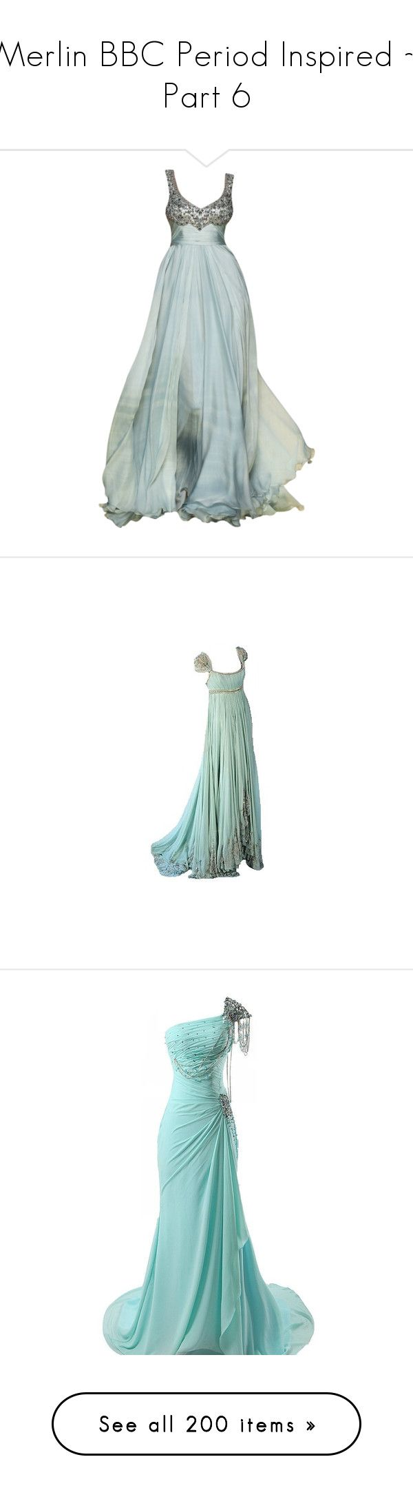 """Merlin BBC Period Inspired ~ Part 6"" by briannajjm ❤ liked on Polyvore featuring dresses, gowns, long dresses, vestidos, green color dress, green evening dress, green gown, long green evening dress, green dress and medieval"