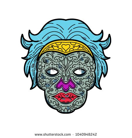 Mono line illustration of a female calavera or sugar skull, an edible decorative skull made from sugar or clay used in Mexican celebration of the Day of the Dead or Dia de Muertos in monoline style.  #sugarskull #monoline #illustration