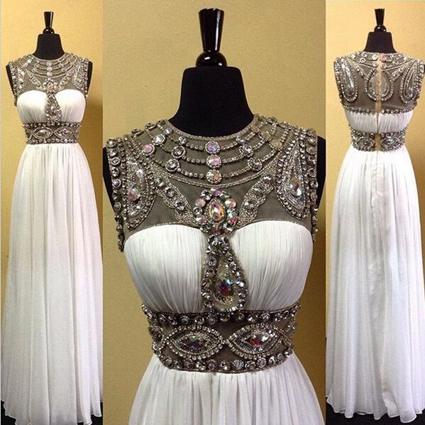 Beaded prom dress, chiffon prom dress, new arrival white chiffon round neck crystal beading long evening dress for teens