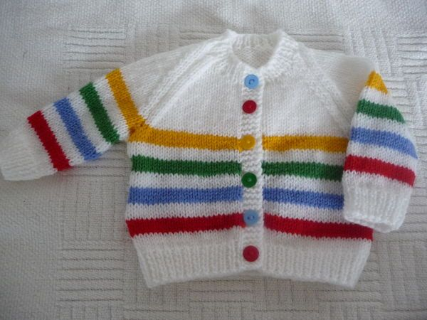 Baby cardigan - primary stripes