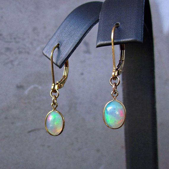Opal Ohrringe, echten Opal Ohrringe, Feueropal Ohrringe Oval Ohrringe, Drop…