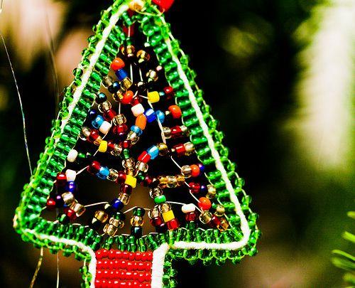 Miniature beaded wire Christmas trees