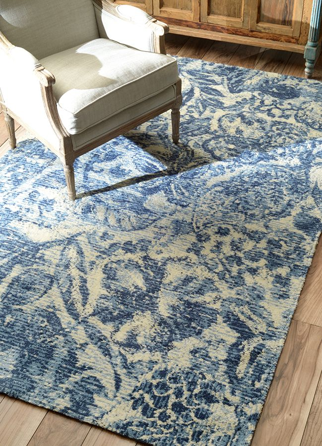 Rugs usa handmade contemporary rug blue white summer - Decorating with area rugs ...