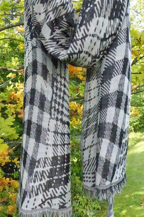 NEW YORK, woollen pashmina, ullsjal, sjal, svartvit, rutig, sjal,