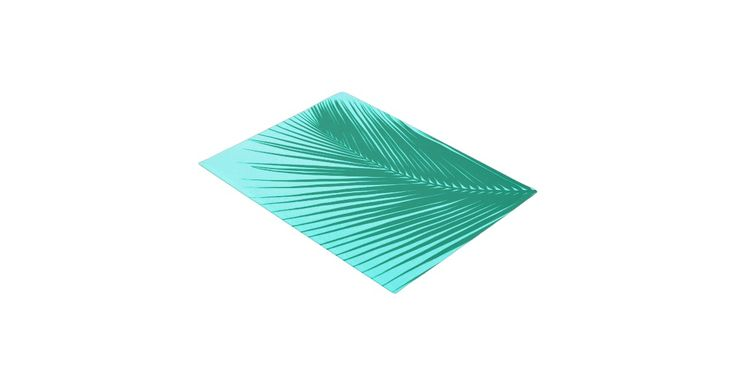 Turquoise / peacock palm leaf silhouette against a light aquamarine background door mat