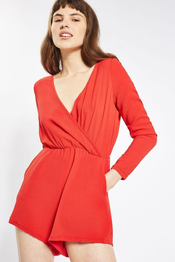 80dec28aaa Glamorous Wrap Front Playsuit Red Size M UK 12 DH086 KK 06  fashion   clothing  shoes  accessories  womensclothing  jumpsuitsrompers (ebay link)