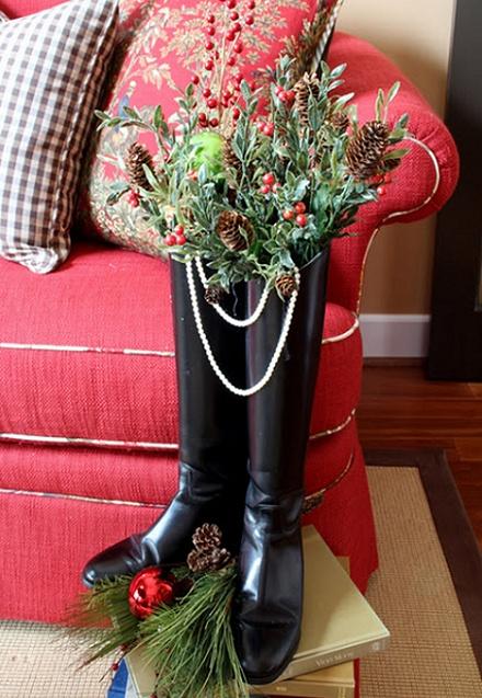 botas con decoracion navideña
