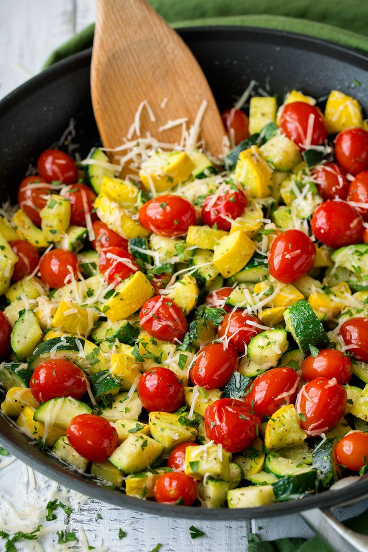 Skillet Garlic Parmesan Zucchini Squash and Tomatoes