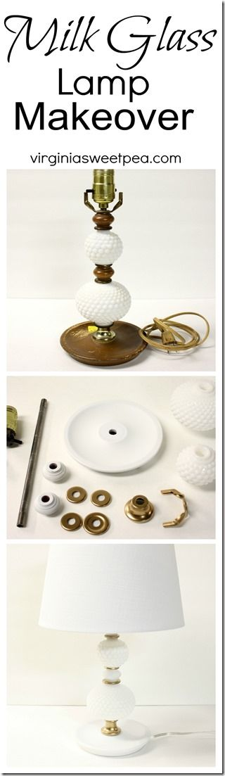 Milk Glass Lamp Makeover - A lamp found at the thrift store gets an updated look