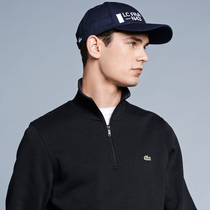 LACOSTE Men'S Half Zip Lightweight Logo Sweatshirt - Black/Navy. #lacoste #cloth #all
