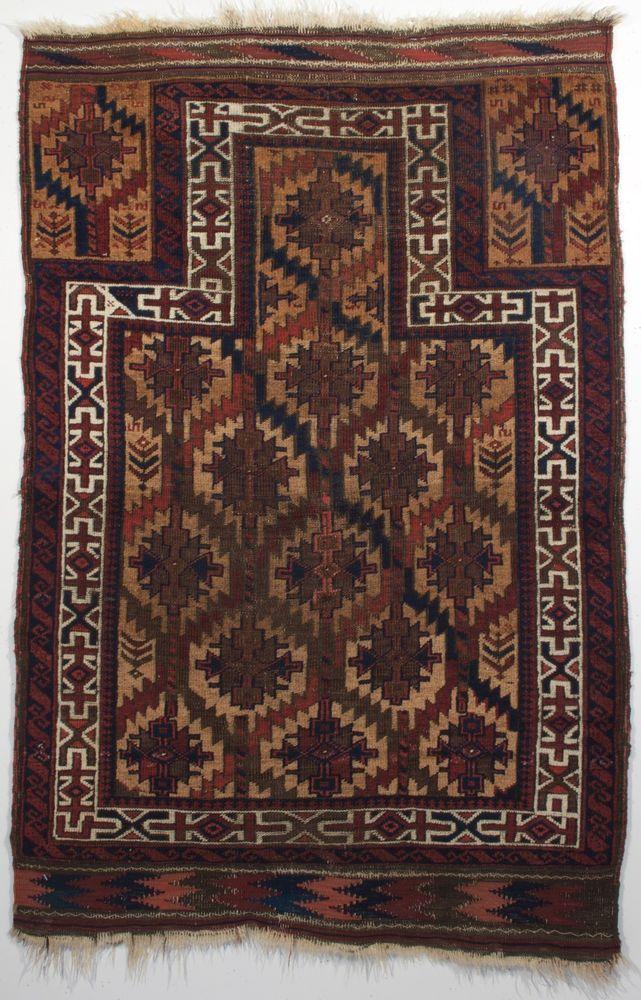 Antique Persian Baluch Prayer rug; Timuri Baluch; Circa 1900; 3-1 x 4-7 ft.  #Persian