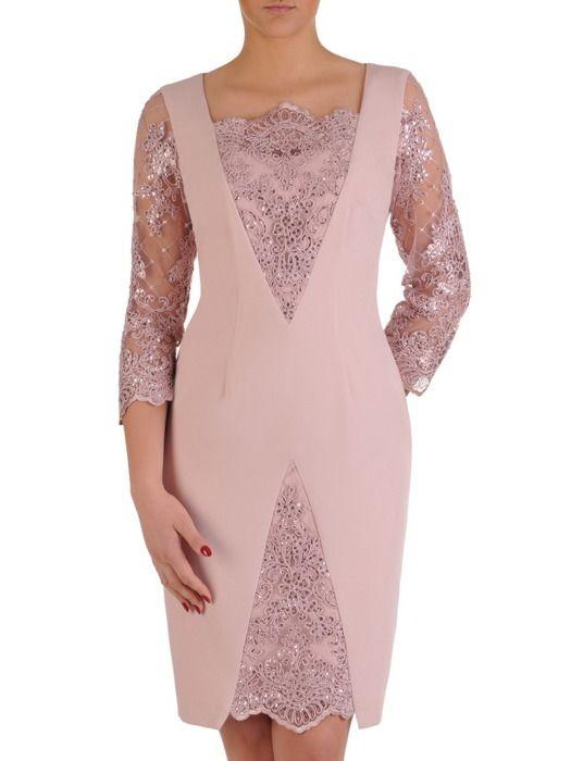 14904bf2983f12 Sukienka na wesele 19385, wyszczuplająca kreacja z koronki i tkaniny. |  Sklep online ModBiS