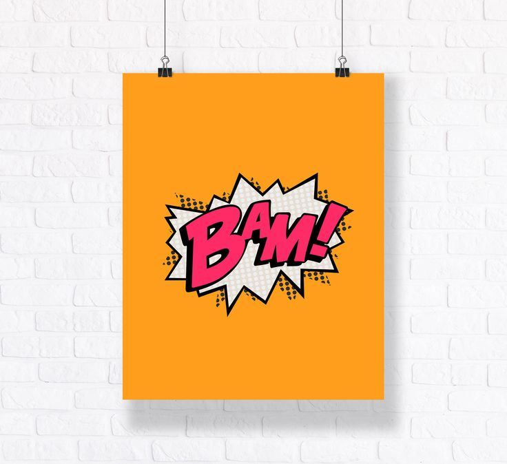 BAM Action Callout Customizable Comic Book Illustration.