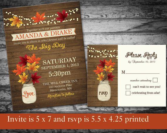 Fall Wedding Invitation Rustic Mason Jar Country Wedding Invitations and RSVP Cards - on wood grain background- DIY printable-
