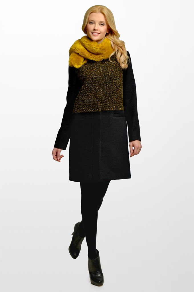 Sarah Lawrence - bouclé coat with stand up collar and combination of two fabrics.