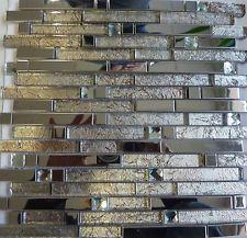 Glasmosaik Metallmosaik Fliesen Mosaik Stäbchenmosaik 30cm x 30cm
