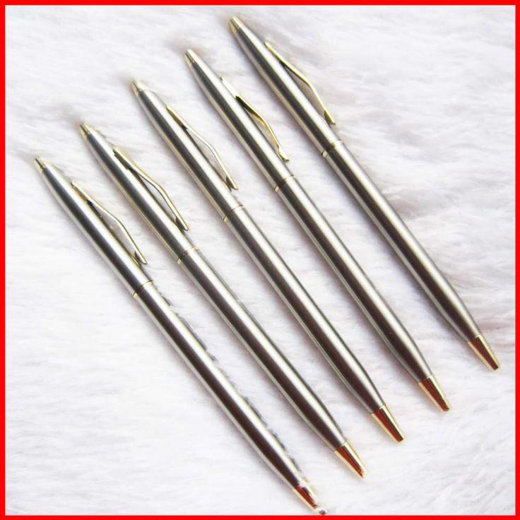 1 unids/lote Nueva llegada varilla de acero inoxidable giratoria de metal bolígrafo bolígrafo comercial pluma regalo papelería envío libre