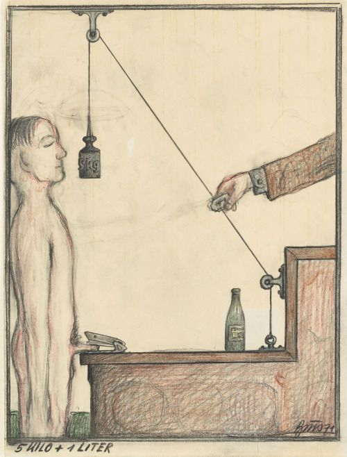 Günter Brus (Austrian, b. 1938), 5 Kilo + 1 Liter, 1971. Colour and graphite pencil on paper, 27.1 x 21 cm.