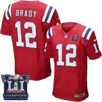 Men's New England Patriots #12 Tom Brady Red Alternate Super Bowl LI Champions Nen Elite Jersey