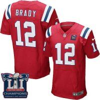 Men's New England Patriots #12 Tom Brady Red Alternate Super Bowl LI Champions Nen Elite Jersey