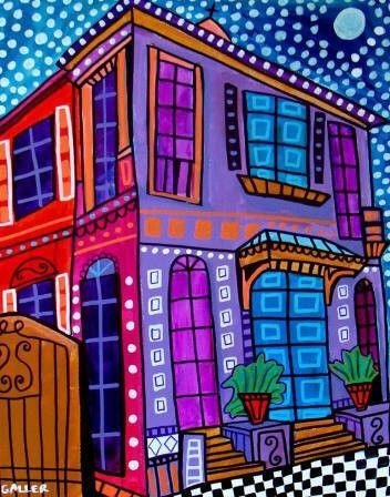 New Orleans French Quarter art Art Print door HeatherGallerArt