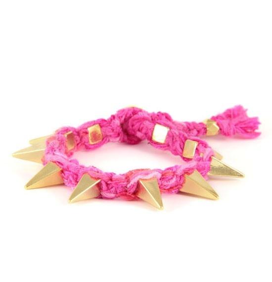 Ettika - Fuschia Ribbon Bracelet With Gold Pyramid Spikes