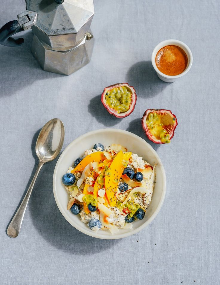 Tropical Bircher Muesli with Chia, Mango, Coconut, Passionfruit & Blueberries