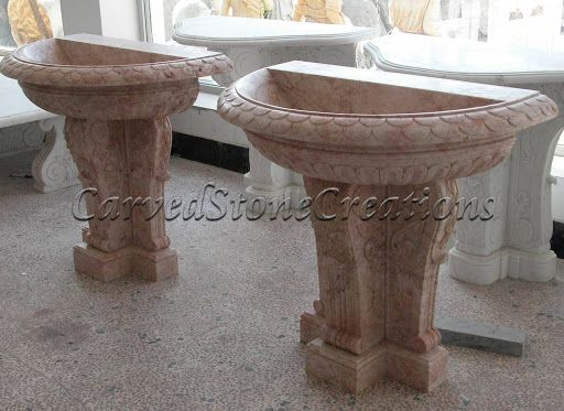Click On The Picture To View More Handcarved Stone Pedestal Sinks. #Stone  #Design