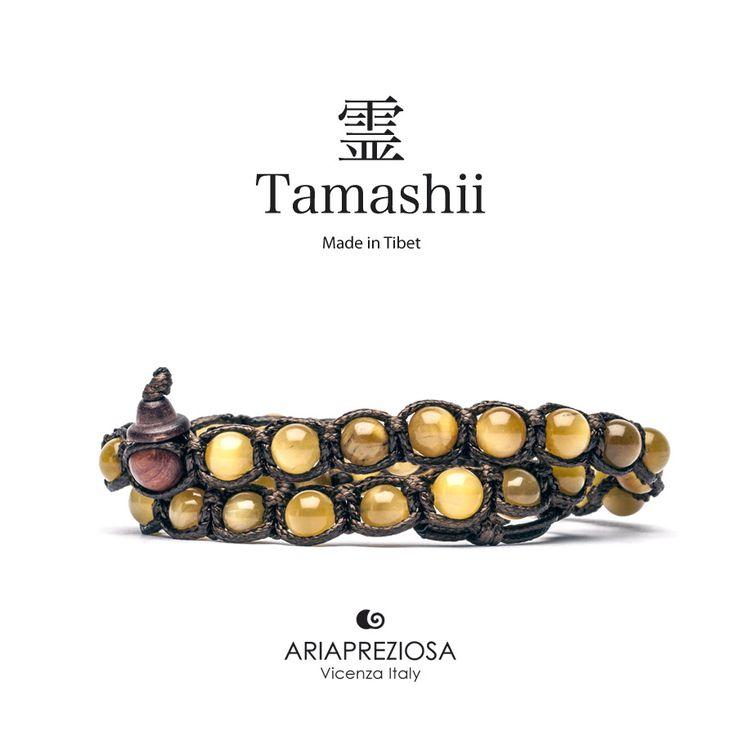 Tamashii - Bracciale Lungo Tradizionale Tibetano 2 giri Occhio di Tigre (Golden Tiger)