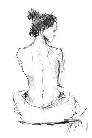 Pencil Sketches Of Women | The Daily Sketch - Duane Eells: Woman with Towel - Pencil Sketch