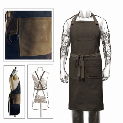Pin pic not the same. My STYLE: Keep Default Pockets, Canvas Color (Army Green), Pocket Color (Cognac Leather), Straps (Natural), Crossback.      Each custom canvas apron ishandmade from durablewaxed army duck - the best waxed canvas on the market.