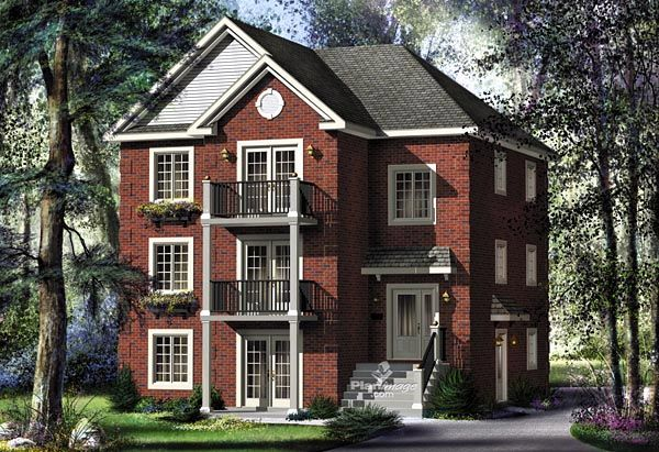 Colonial narrow lot multiplexplan 49851 has a 3765 total for Multi family plans for narrow lots